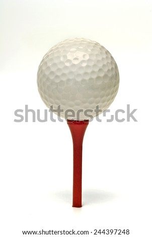 Golf Ball On Red Tee Isolated On White Background/ Time To Go Golfing - stock photo