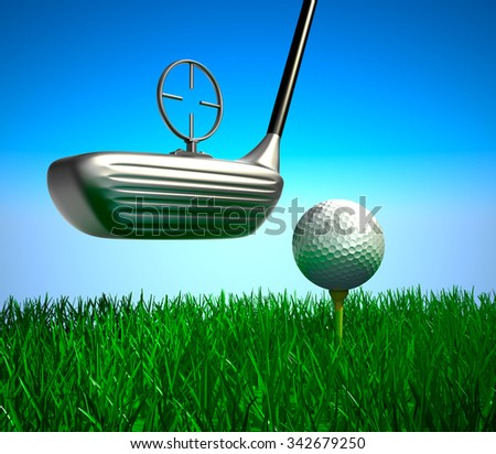 Golf ball on tee and target, concept  - stock photo