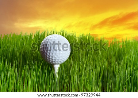 Golf ball on tee in the grass at sunset