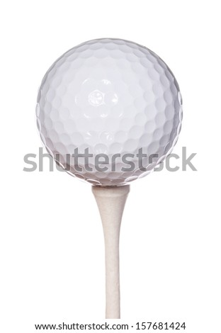 Golf ball on tee, isolated on white background, includes clipping path - stock photo