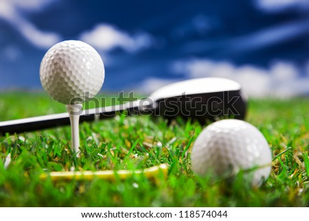 Golf ball on the green grass. Studio Shot!
