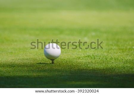 Golf ball on the green lawn background, sunny natural sport image. Competition, achievement and target concept. - stock photo