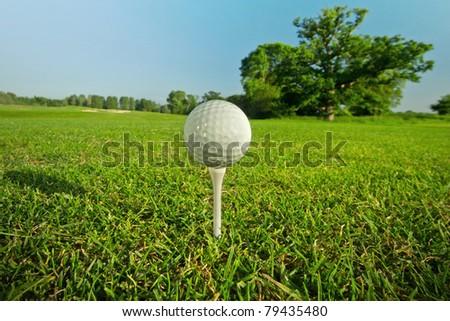 Golf ball on the tee - idyllic golf course of Adare - stock photo