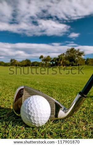 golf ball on tropical fairway with iron, hi res capture