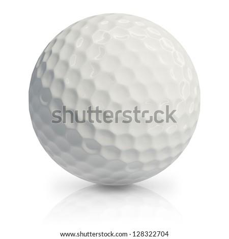 Golf ball on white background. - stock photo
