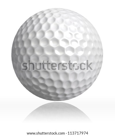 golf ball on white background. clipping path included - stock photo