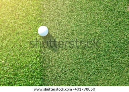 Golf ball sitting between apron fringe and green under afternoon sunlight