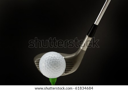 Golf ball tee off isolated