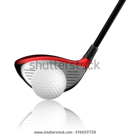 golf ball with golf club isolate on white - stock photo