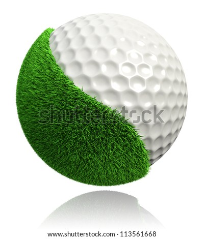 golf ball with green grass on white background. clipping path included - stock photo