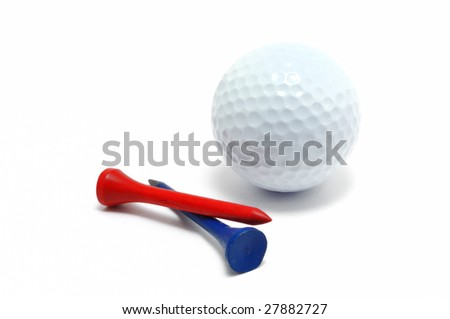 Golf Ball with Red and Blue Tees isolated on a white background
