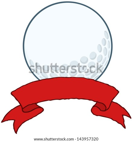 Golf Ball With Red Ribbon Banner. Raster Illustration.Vector Version Also Available In Portfolio. - stock photo
