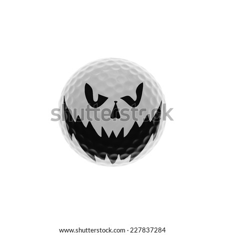 Golf-ball with spooky grimace - stock photo