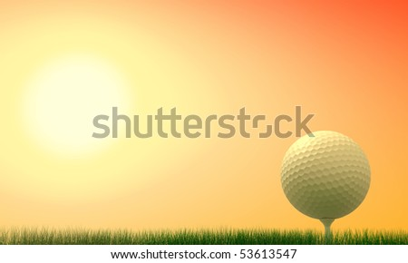 Golf ball with tee in the grass at sunset-rendering - stock photo