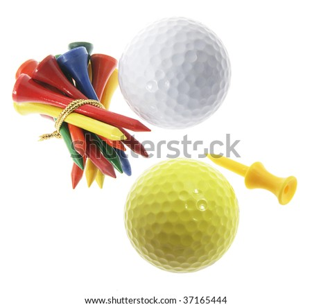 Golf Balls and Tees on Isolated White Background
