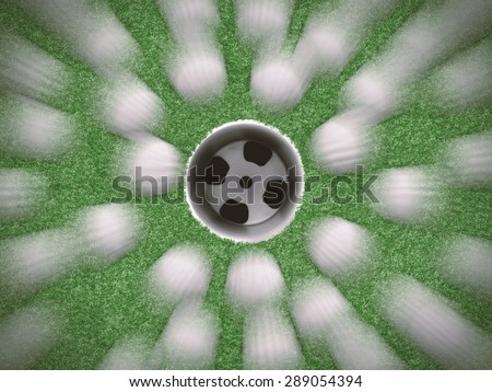 golf balls background with golf cup on center - stock photo