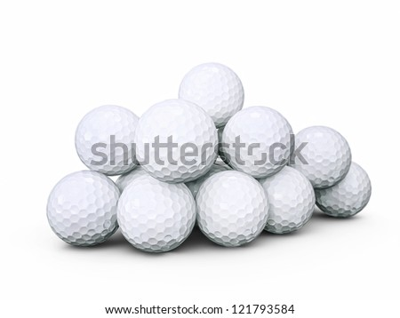golf balls isolated on a white background - stock photo