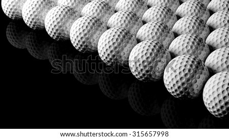 Golf balls, isolated on black background with reflection. - stock photo