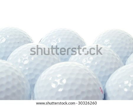 golf balls isolated on white - stock photo