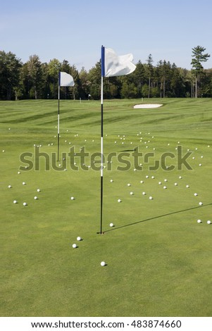 Golf balls on practice green at golf course.