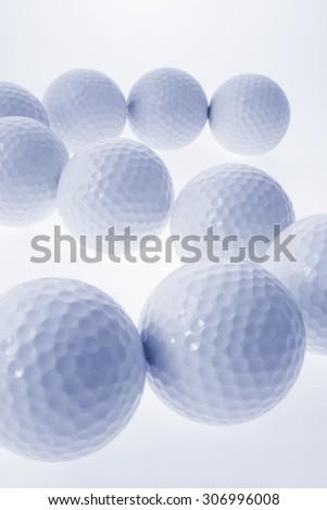 Golf Balls on White Background - stock photo