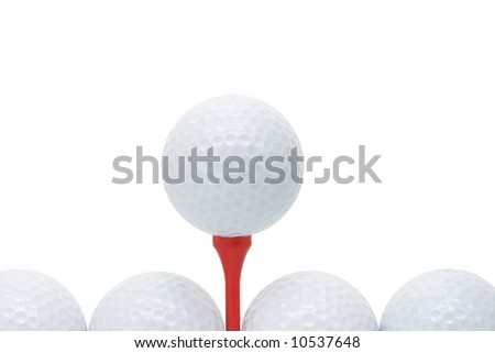 Golf balls with red tee on white background with copy space