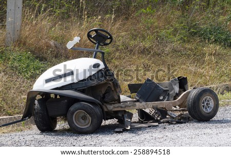 Golf cart accident, the damage caused in golf. - stock photo