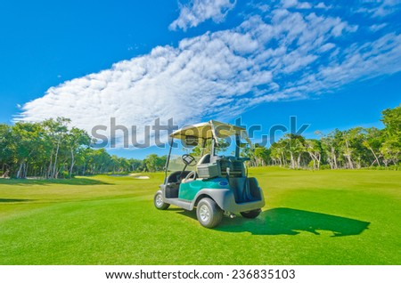 Golf cart at the beautiful golf course at the luxury caribbean, mexican resort.