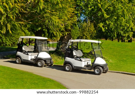 Golf cart over green