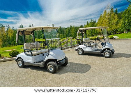 Golf carts at the beautiful  golf course. Vancouver, Canada.