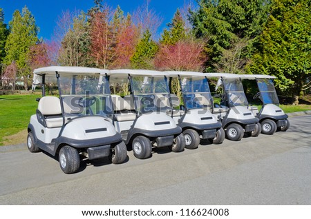 Golf carts at the golf course