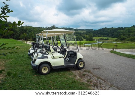 Golf carts waiting for use it on the golf course