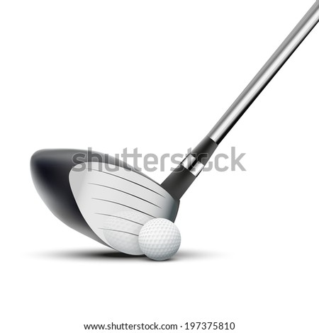 Golf club and ball at the moment of impact. Reflection at a metal surface. Isolated on white background. Bitmap copy. - stock photo