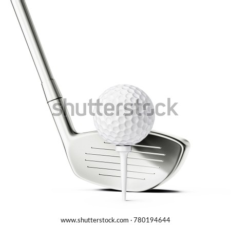 golf club and ball isolated on a white. 3d illustration