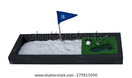 Golf Club and Ball next to a big Sand Pit - path included
