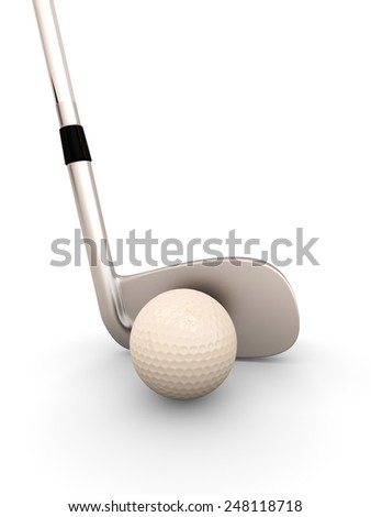 Golf club and golf ball close-up on a white background. 3d illustration.