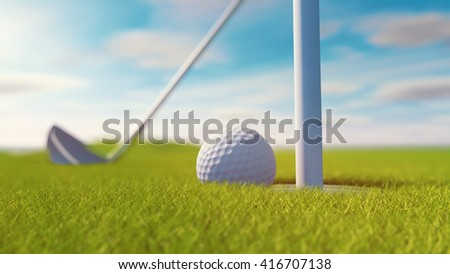 golf club and golf ball on grass. Sunny day. 3D rendering