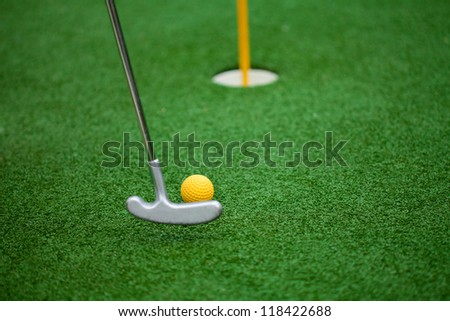 golf club, ball and hole - stock photo