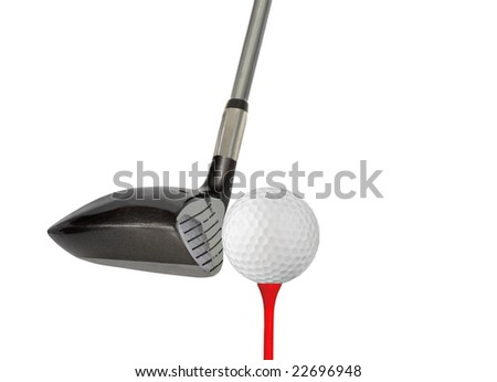 Golf club, ball and tee isolated on a white background
