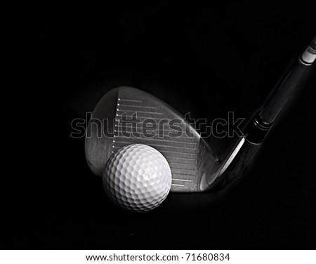 Golf Club hitting Golf Ball - stock photo