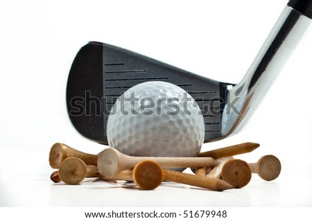 Golf club, iron, with white ball and wooden tees