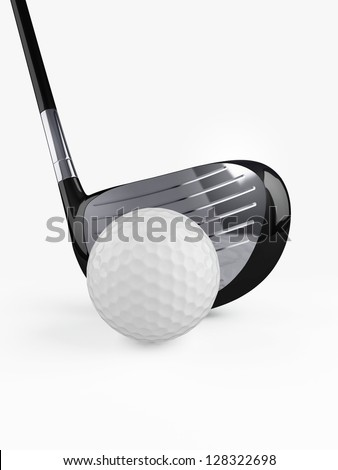 Golf club with golf ball on white background.