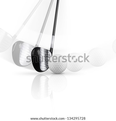 Golf club with golf ball on white background. - stock photo
