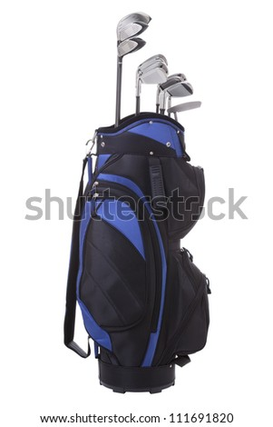 Golf clubs in blue and black bag isolated on white - stock photo