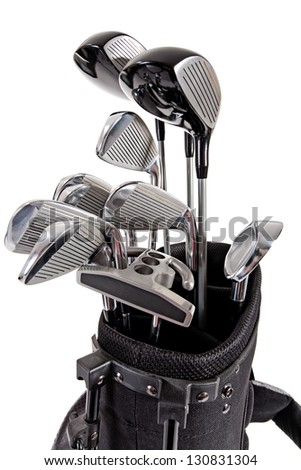 golf clubs in carrying bag isolated on white background - stock photo