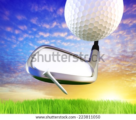 Golf concept. Just place your logo to the iron. - stock photo