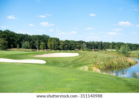 golf course, a beautiful golf course, green grass - stock photo