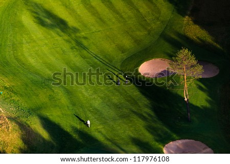 Golf course, aerial view - stock photo