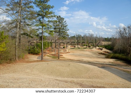 golf course at winter in winder georgia usa - stock photo
