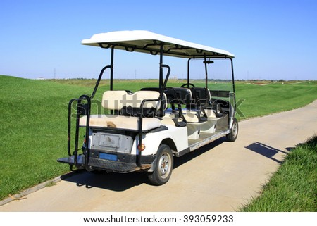golf course battery cart, closeup of photo